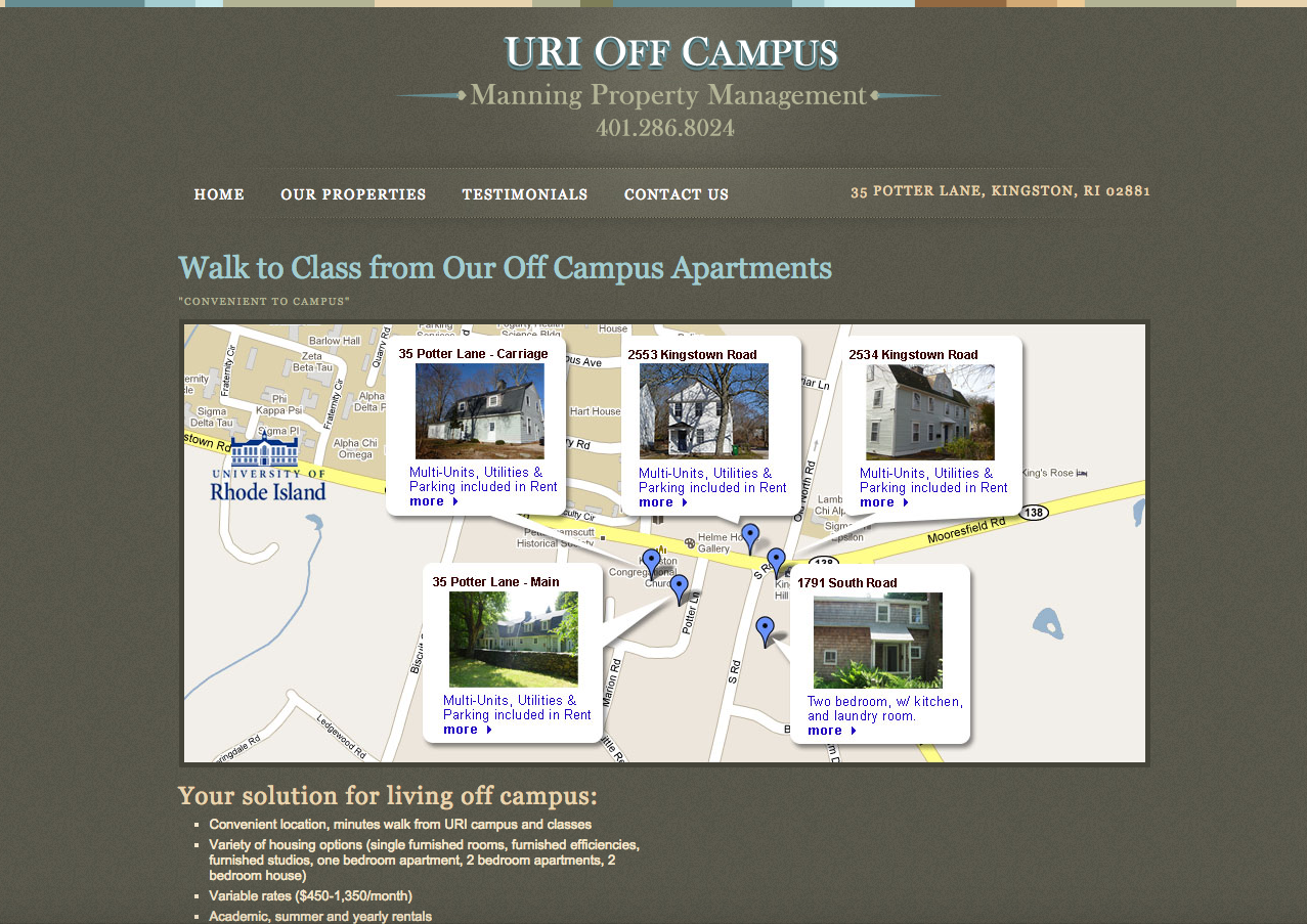 URI Off Campus Housing Website Domainworks
